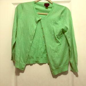 Bright Green JCREW Light Cashmere Cardigan